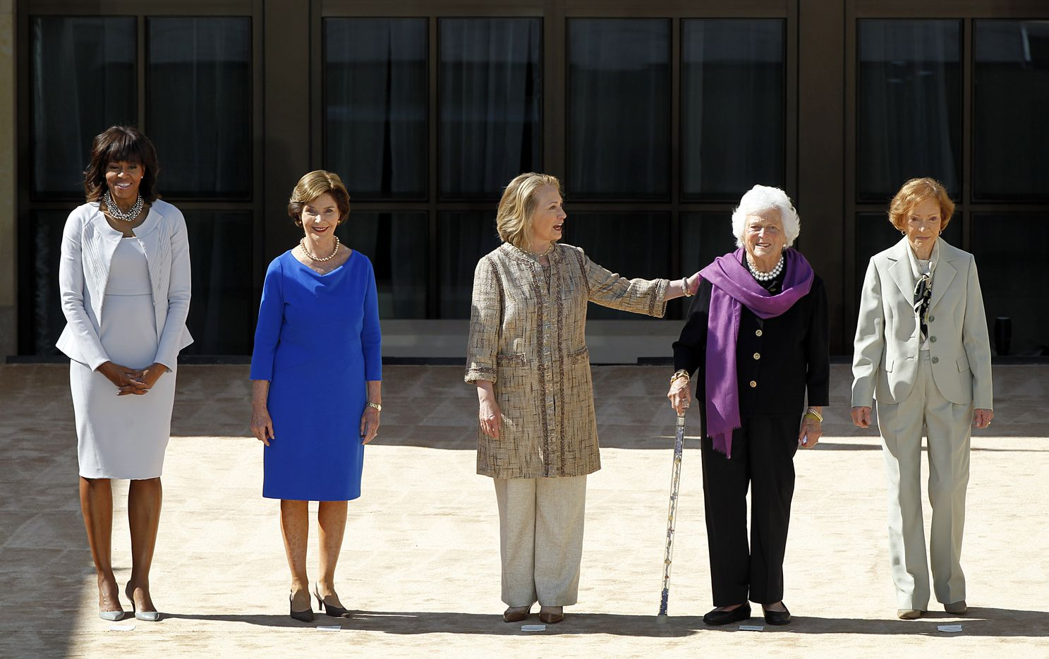 Barbara Bush was one of the five first ladies introduced at the George W. Bush Presidential Center dedication in University Park on April 25, 2013. From left: Michelle Obama, Laura Bush, Hillary Clinton, Barbara Bush and Rosalynn Carter.