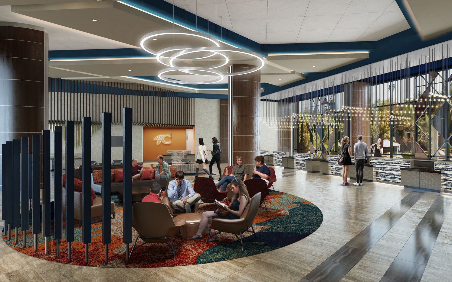 The lobby of the new Choctaw Casino & Resort addition in Durant, Okla north of Dallas.