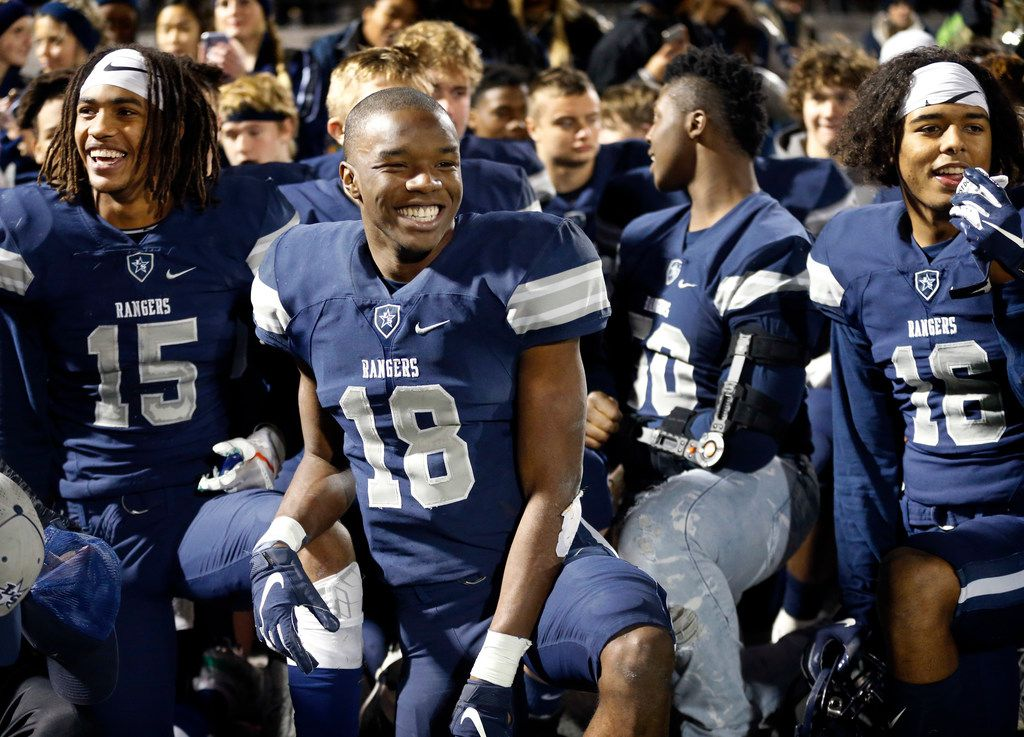 Frisco Lone Star wide receiver Marvin Mims (18) is all smiles following his record-breaking performance against Lancaster in the Class 5A Division I Region II final at Wilkerson-Sanders Stadium in Rockwall on December 6, 2019. (Tom Fox/The Dallas Morning News)