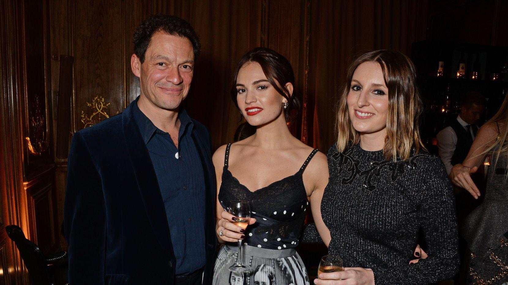 Dominic West, Lily James y Laura Carmichael en la entrega de premios Harper's Bazaar Women Of The Year 2018 en Londres.