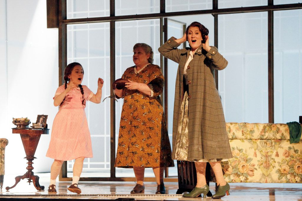 """Emma Bell (Governess), far-right, Dolora Zajick (Mrs. Grose), center, and Ashley Emerson (Flora), left, during a scene at a dress rehearsal of """"The Turn of the Screw,"""" performed by the Dallas Opera, Wednesday evening, March 08, 2017 at the Winspear Opera House in Downtown Dallas. Ben Torres/Special Contributor"""