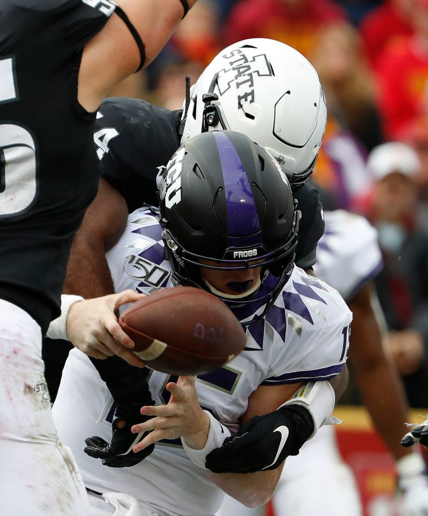 AMES, IA - OCTOBER 5: Linebacker O'Rien Vance #34 of the Iowa State Cyclones tackles quarterback Max Duggan #15 of the TCU Horned Frogs causing a Duggan to fumble on the play in the first half of play at Jack Trice Stadium on October 5, 2019 in Ames, Iowa. (Photo by David Purdy/Getty Images)