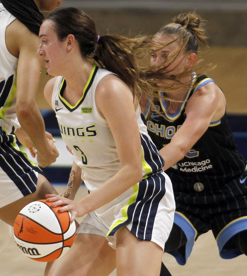 Dallas Wings guard Marina Mabrey (3) drives the lane as Chicago Sky Courtney Vandersloot (22) defends during first half action. The two WNBA teams played their game at College Park Center in Arlington on July 2, 2021. (Steve Hamm/ Special Contributor)