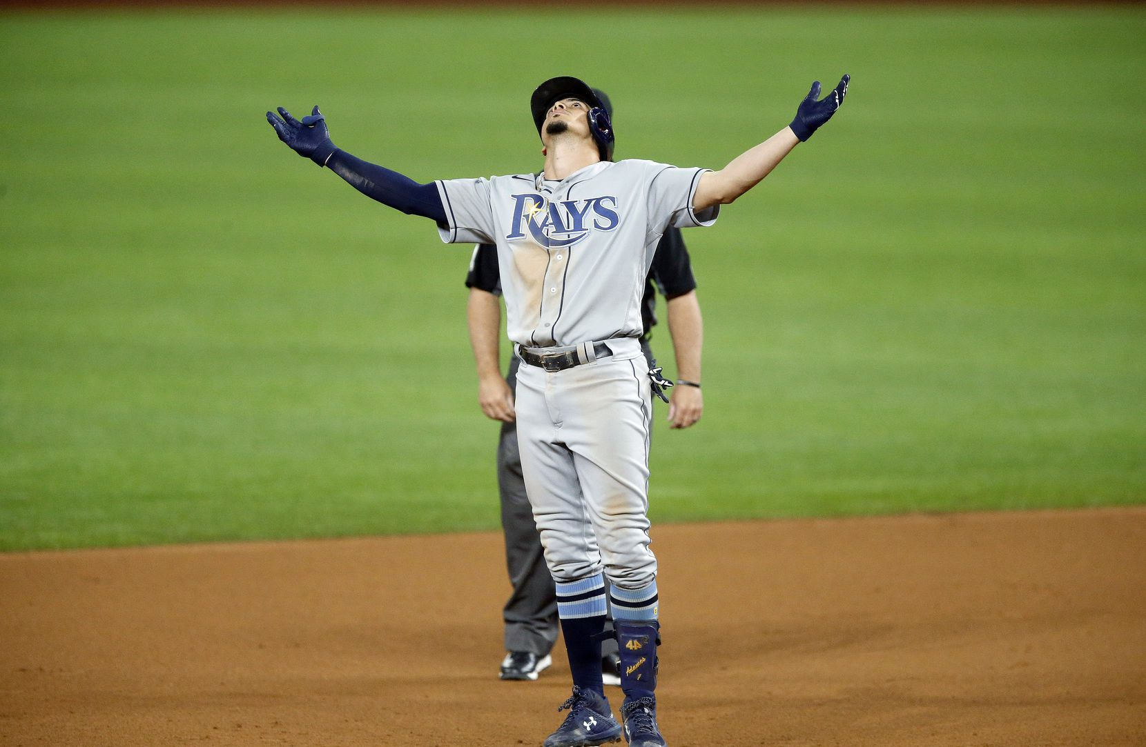 Tampa Bay Rays batter Willy Adames (1) reacts at second base on a double against the Los Angeles Dodgers during the eighth inning in Game 2 of the World Series at Globe Life Field in Arlington, Wednesday, October 21, 2020. (Tom Fox/The Dallas Morning News)