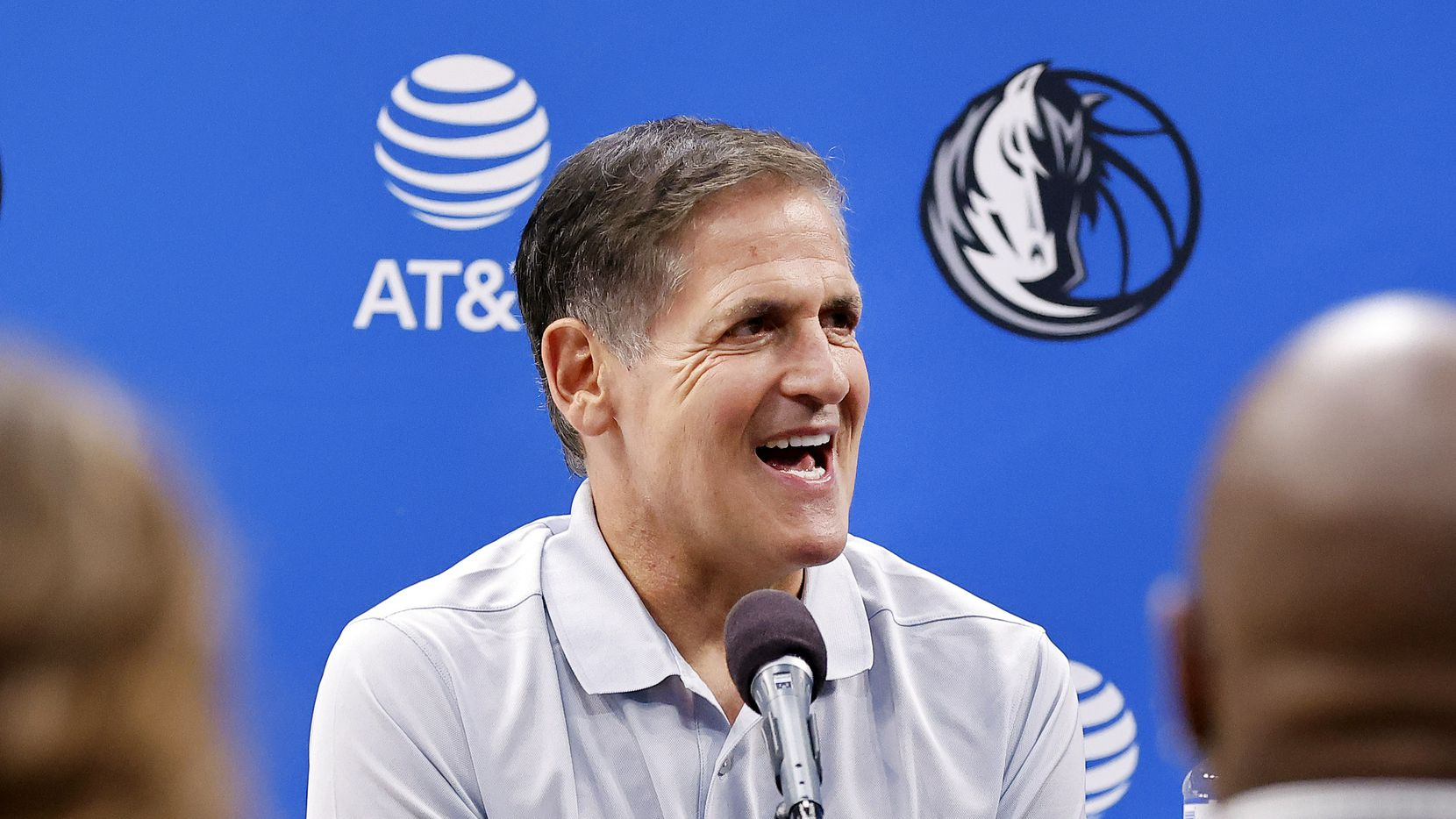 Dallas Mavericks owner Mark Cuban responds to questions from the media after formally introducing a new general manager and head coach at the American Airlines Center, Thursday, July 15, 2021. (Tom Fox/The Dallas Morning News)
