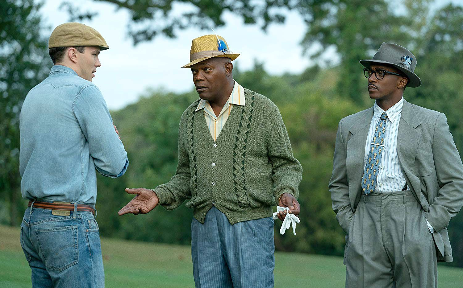 Samuel L. Jackson (center) and Anthony Mackie (right) with Nicholas Hoult in 'The Banker.'