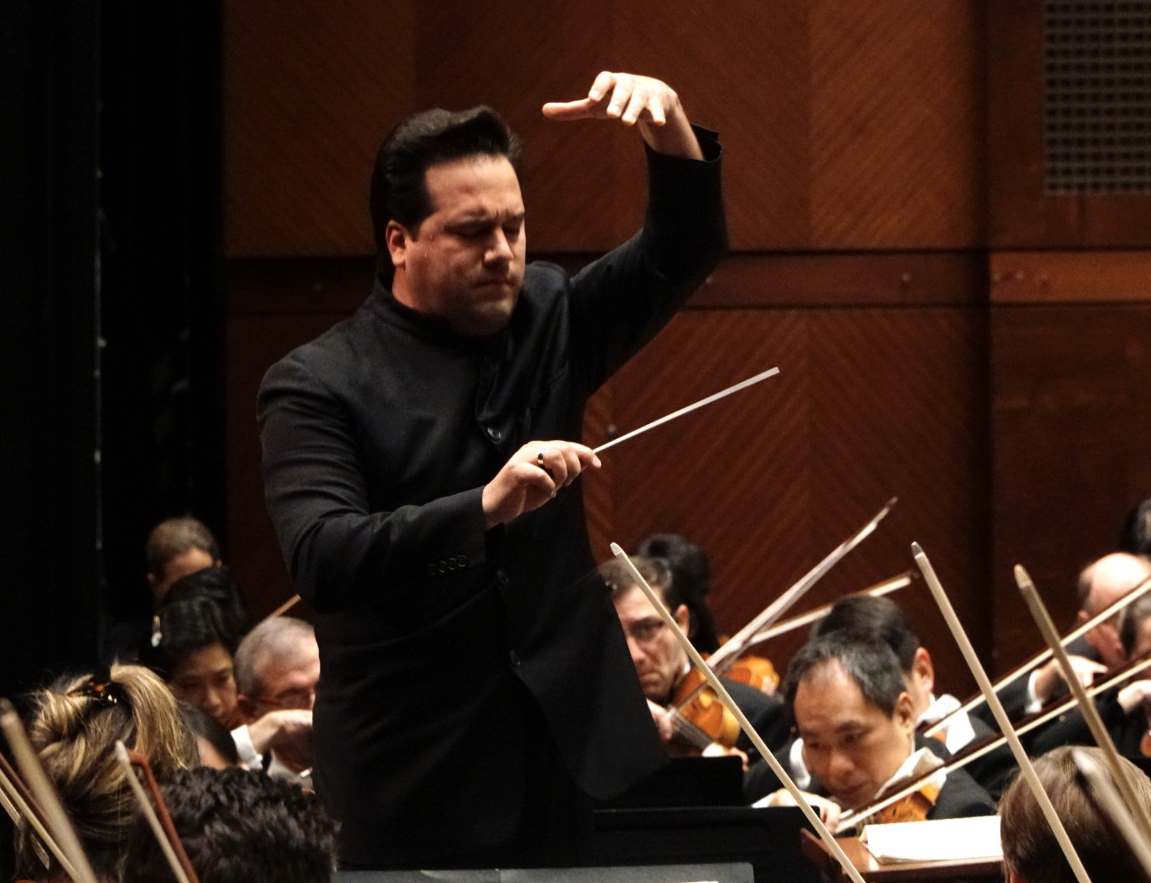 Robert Trevino leads the Fort Worth Symphony Orchestra at Bass Performance Hall in Fort Worth on Feb. 28, 2020. Trevino grew up listening to the FWSO.