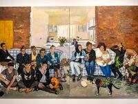 Liu Xiaodong, 'At the Casa del Migrante in Juarez,' 2019, oil on canvas at the exhibition Liu Xiaodong: Borders at Dallas Contemporary