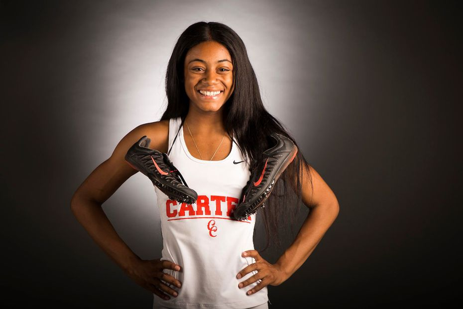 Girls track athlete of the year Sha'Carri Richardson of Carter High School photographed in The Dallas Morning News studio on May 17, 2017, in Dallas. (Smiley N. Pool/The Dallas Morning News)