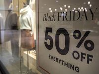 Black Friday signage posted inside of Banana Republic at the Galleria in Dallas.