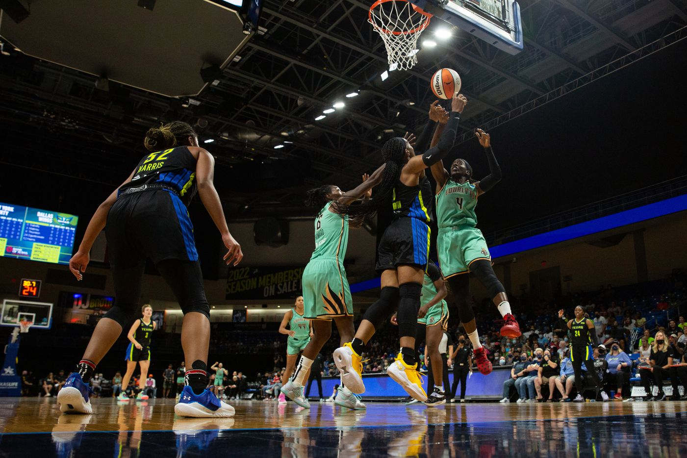 Dallas Wings forward Kayla Thorton (6) goes up for a rebound against NY Liberty's forward Natasha Howard (6) and guard Jazmine Jones (4) at College Park Center in Arlington, TX on September 11, 2021.  (Shelby Tauber/Special Contributor)