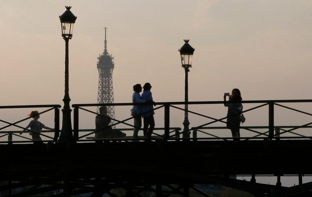 American tourists could be visiting continental Europe again this summer, including the Eiffel Tower in Paris (shown in the background).