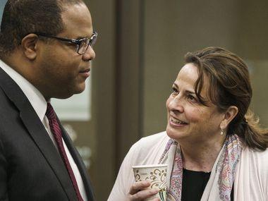 Dallas Mayor Eric Johnson with Dallas City Council member Paula Blackmon
