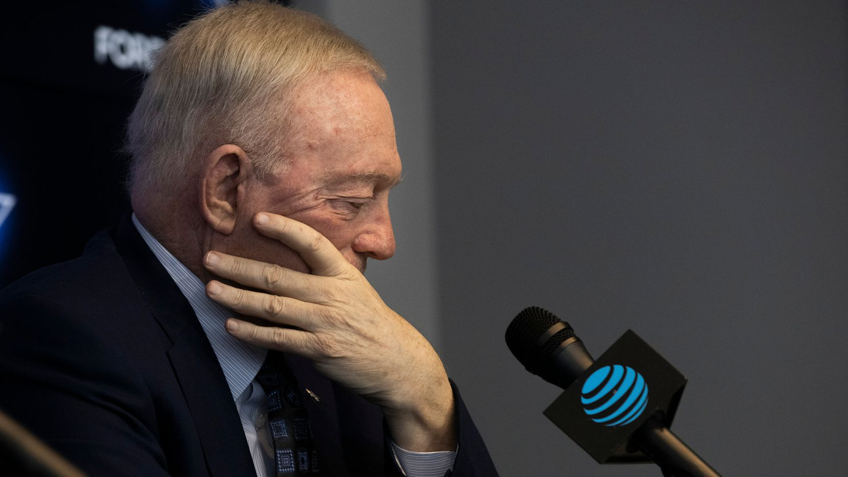 Dallas Cowboys Owner Jerry Jones listens to media questions during a pre-draft news conference at The Star in Frisco, Texas, on Tuesday, April 27, 2021.