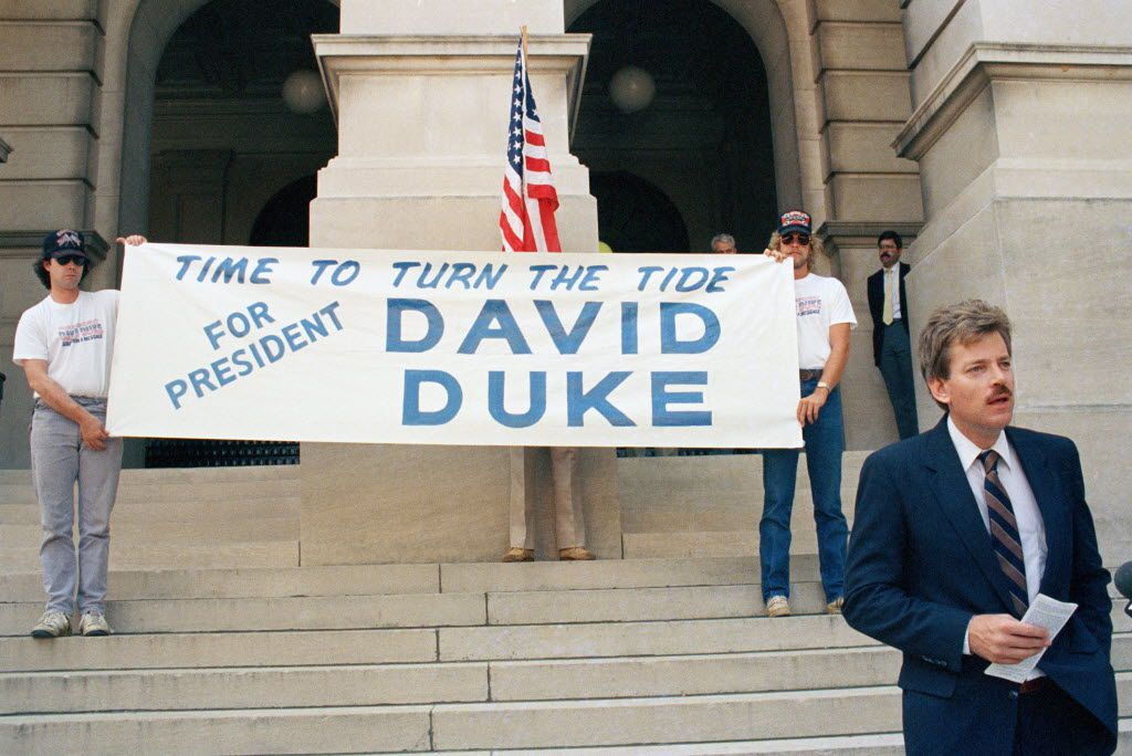 David Duke announces on the steps of the Georgia Capitol in Atlanta  that he is running for the Democratic presidential nomination on June 9, 1987.