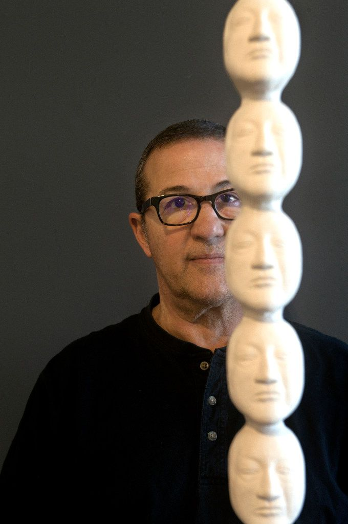 Artist Nic Nicosia with '7 thoughts,' 2015, hydrocal and cast bronze. Photographed at Erin Cluley Gallery in Dallas. (Nan Coulter/Special Contributor)