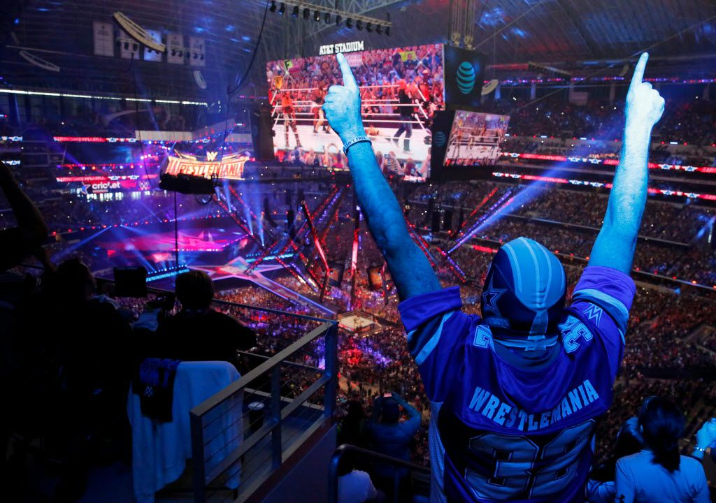 "Kevin Bracken of Indiana cheers on ""Stone Cold"" Steve Austin at WrestleMania 32 at AT&T Stadium in Arlington, TX, Sunday, April 3, 2016."