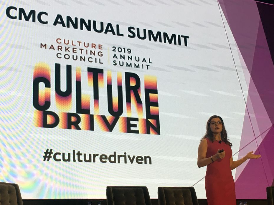 Valeria Piaggio, head of identity and inclusion insights at Kantar Futures, speaks at the Culture Marketing Council's 2019 summit.