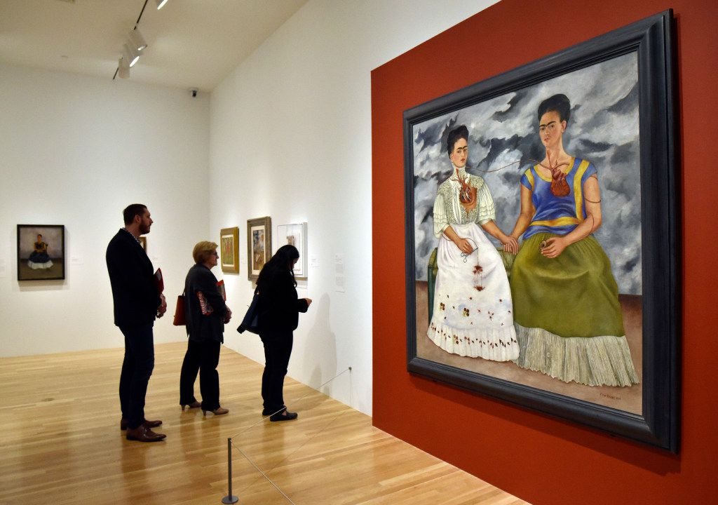 """The Two Fridas"" an oil on canvas from 1939 by Frida Kahlo, is part of the ""Mexico 1900-1950: Diego Rivera, Frida Kahlo, Jose Clemente Orozco and the Avant-Garde"" exhibition showing at the Dallas Museum of Art."