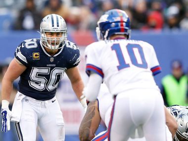 Dallas Cowboys middle linebacker Sean Lee (50) watches New York Giants quarterback Eli Manning (10) before the snap during the first half of play at MetLife Stadium in East Rutherford, New Jersey, on Sunday, December 10, 2017.