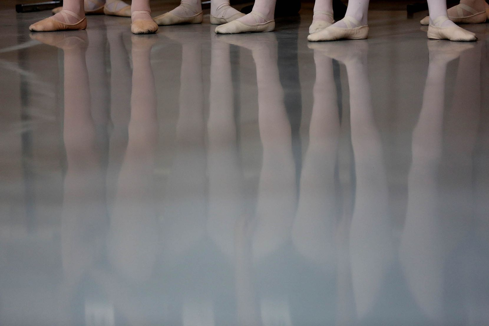 Dancers in a ballet class during the first day of school.