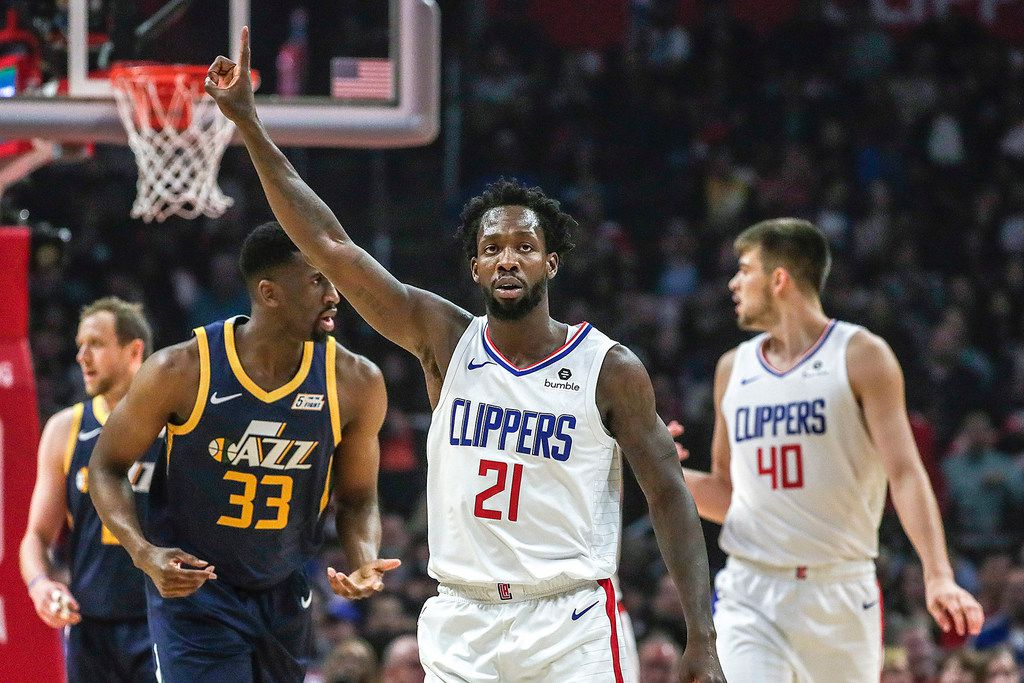 The Los Angeles Clippers' Patrick Beverley (21) celebrates after causing a Utah Jazz turnover at Staples Center in Los Angeles on April 10, 2019. (Robert Gauthier/Los Angeles Times/TNS)