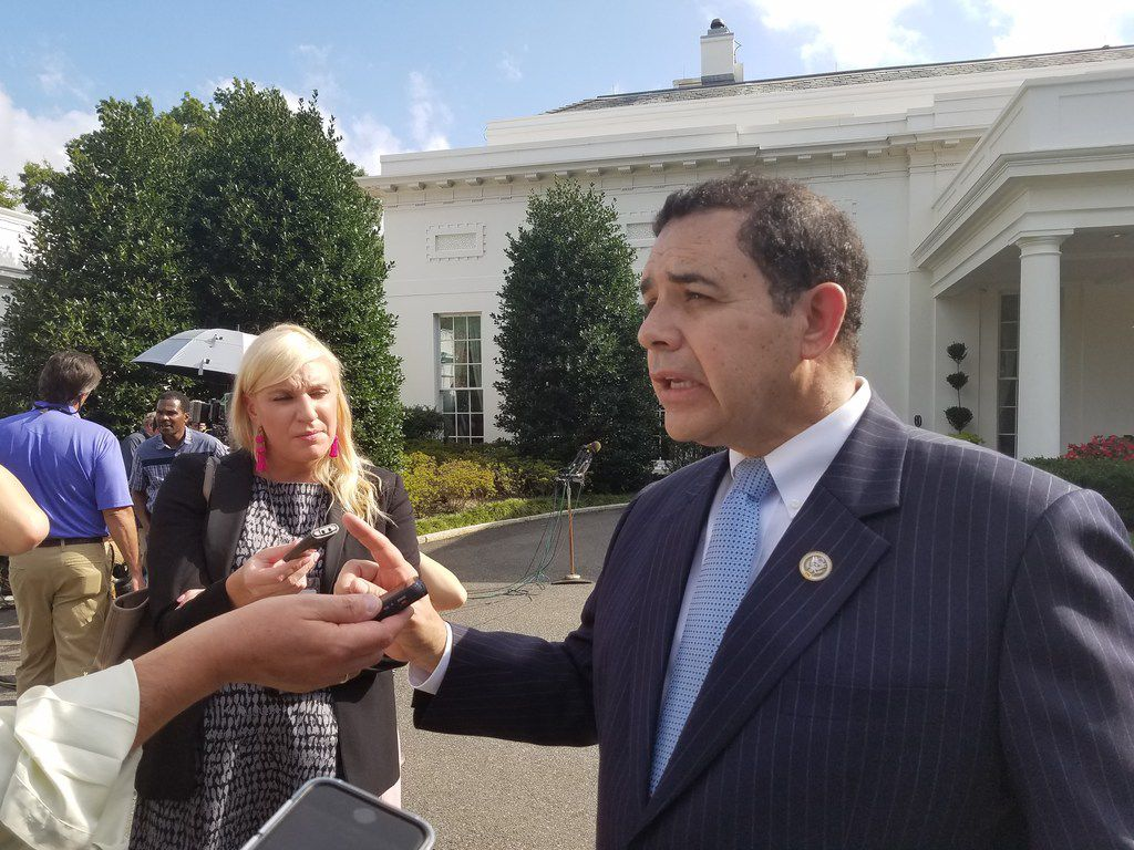 Rep. Henry Cuellar, D-Laredo, speaks with reporters at the White House after a meeting with President Donald Trump on Sept. 13, 2017, about taxes, immigration policy and the border wall.