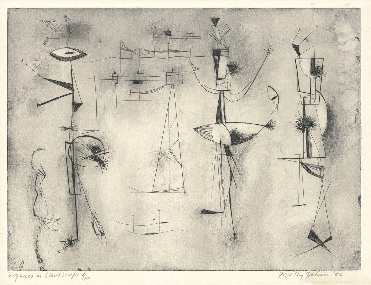 Dorothy Dehner, Figures in Landscape, 1956, engraving, National Gallery of Art, Washington, Reba and Dave Williams Collection, Gift of Reba and Dave Williams