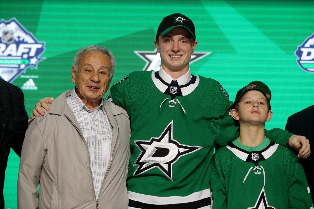 VANCOUVER, BRITISH COLUMBIA - JUNE 21: Thomas Harley reacts after being selected eighteenth overall by the Dallas Stars during the first round of the 2019 NHL Draft at Rogers Arena on June 21, 2019 in Vancouver, Canada. (Photo by Bruce Bennett/Getty Images)
