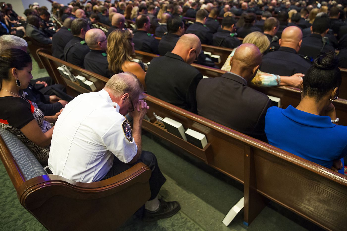during funeral services for Dallas police Sr. Cpl. Lorne Ahrens at Prestonwood Baptist Churchon Wednesday, July 13, 2016, in Plano.