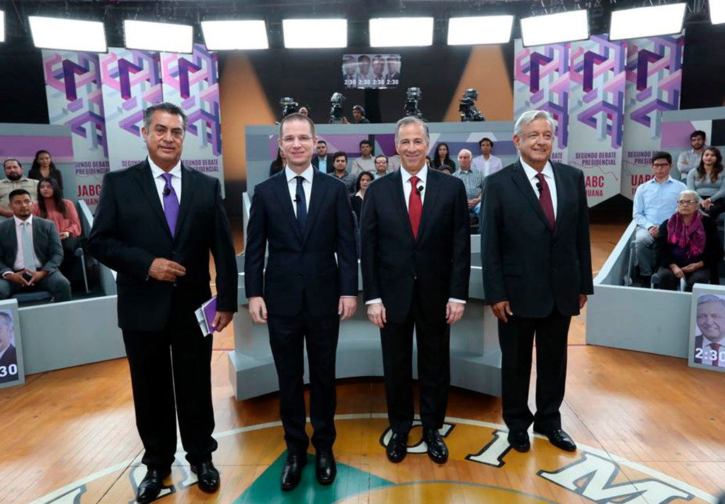 Mexico presidential candidates, from left, independent Jaime Rodriguez, Ricardo Anaya of the Forward for Mexico Coalition, Jose Antonio Meade, of the Institutional Revolutionary Party, and Andres Manuel Lopez Obrador, with the MORENA party, attend the second of three debates in Tijuana, Mexico.