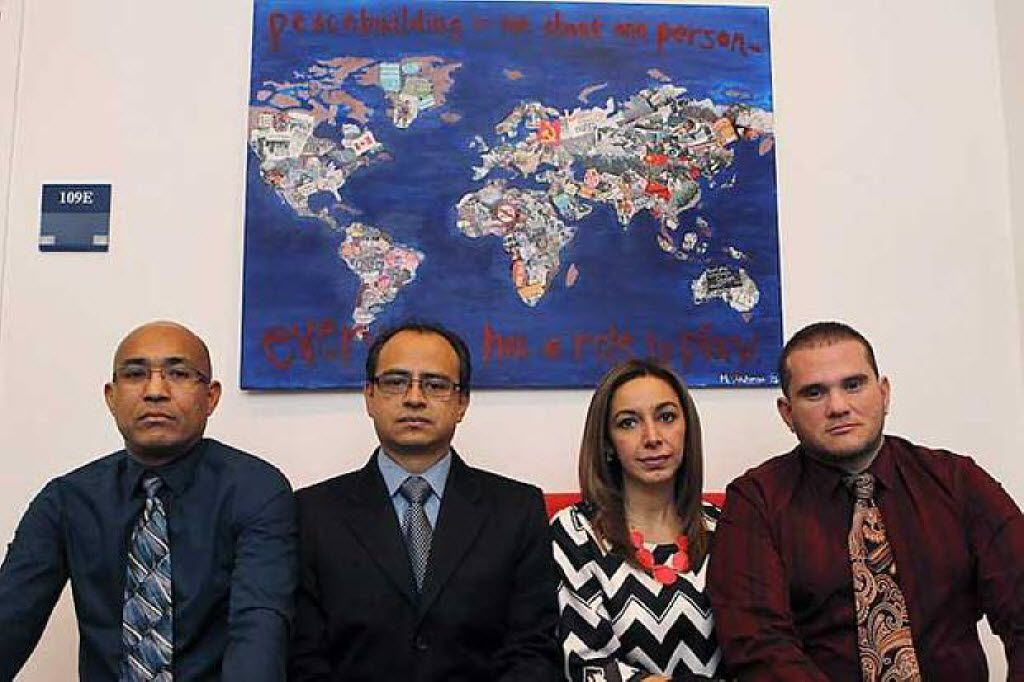 From left: Alfonso Casares Tafur, Bernardo Montes-Rodriguez, Elizabeth Nieto de Rivera and Francisco Javier Marcano are among the teachers recruited under Garland ISD's H-1B visa program who lost their jobs and residency status and faced deportation.