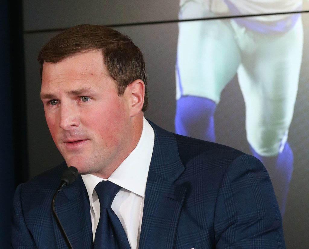 Dallas Cowboys tight end Jason Witten announces his retirement from the NFL during a news conference at The Star in Frisco, Texas on Thursday, May 3, 2018. (Rose Baca/The Dallas Morning News)