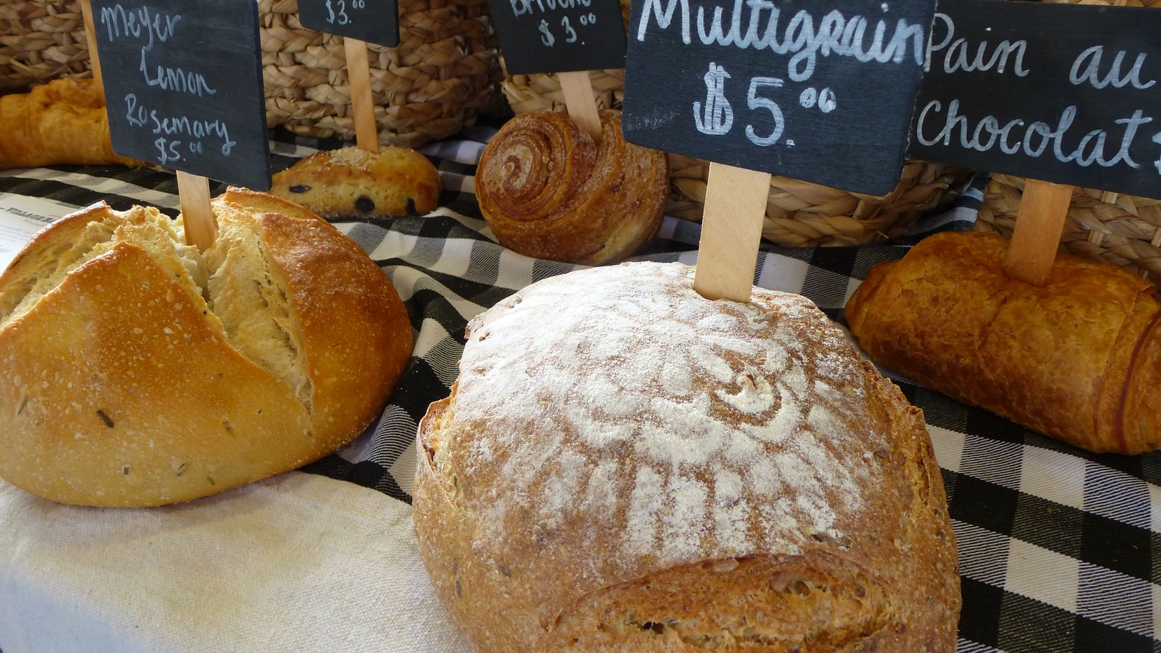 Longtime vendor Village Baking Co. from Dallas brings fresh-baked breads, croissants and other goodies to the Coppell Farmers Market.