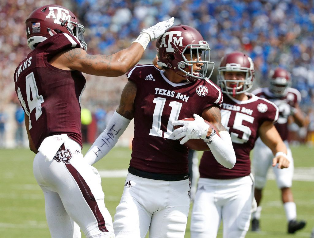 Texas A&M Aggies wide receiver Josh Reynolds  is pictured during the UCLA Bruins vs. the Texas A&M Aggies NCAA football game at Kyle Field in College Station, Texas on Saturday, September 3, 2016. (Louis DeLuca/The Dallas Morning News)