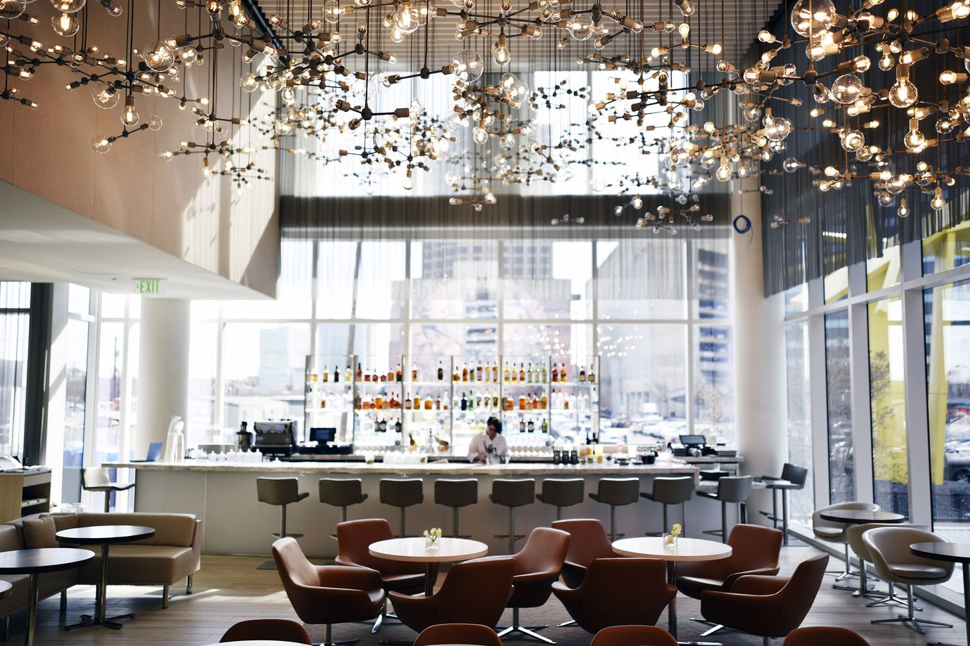 The main dining and bar area at the new restaurant Ellie's inside of the Hall Arts Hotel in downtown Dallas, Dec. 04, 2019.