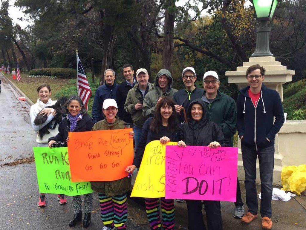 """""""Team Karen"""" cheered on Karen Katz when she ran the Dallas Marathon in December 2015."""
