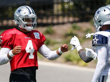 Dallas Cowboys quarterback Dak Prescott (4) greets his teammates during practice at The Star in Frisco, Friday, September 3, 2021. (Brandon Wade/Special Contributor)