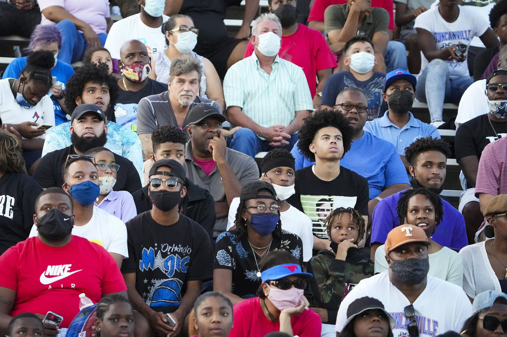 Duncanville fans watch during the first half of a high school football game against Mater Dei on Friday, Aug. 27, 2021, in Duncanville. (Smiley N. Pool/The Dallas Morning News)