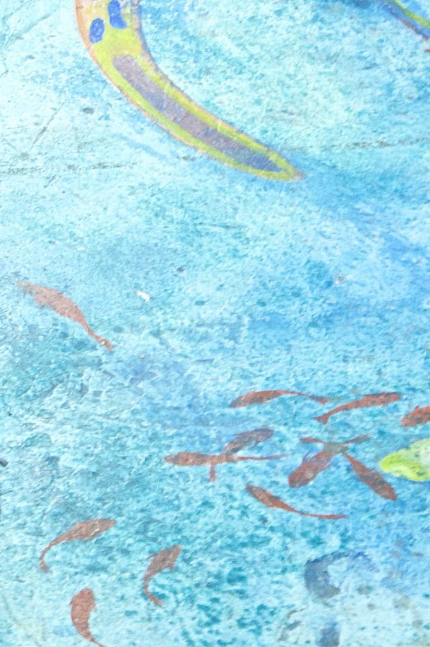 The floor of the gallery level at SPARK! was painted by Dallas-based artist, Rolando Diaz, and depicts the ocean's abundance and diversity. SPARK! is located in the sub-basement of South Side on Lamar in Dallas.