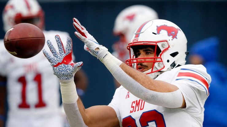 FILE - SMU tight end Kylen Granson (83) catches a pass during pregame warmups before facing Navy at Navy-Marine Corps Memorial Stadium in Annapolis, Md., on Saturday, Nov. 23, 2019.