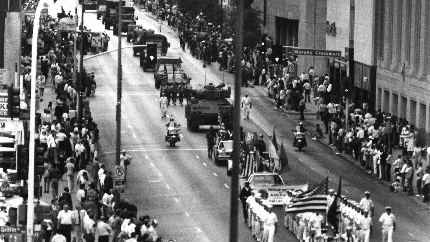 Armed Forces parade in downtown Dallas. The parade was the highlight of a three-day celebration of Armed Forces Week.