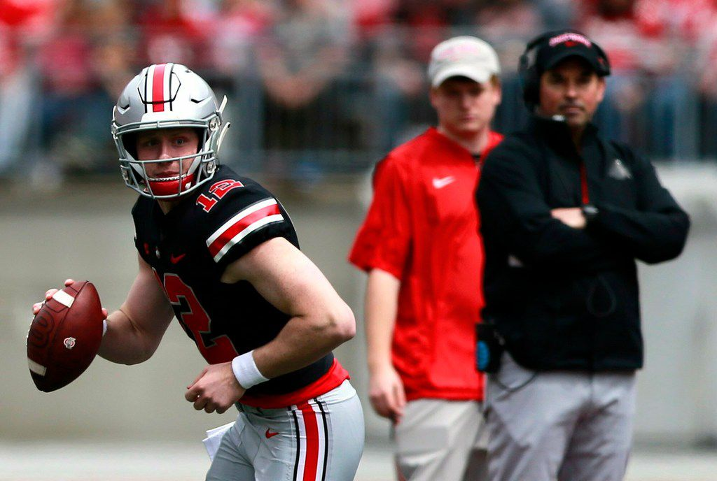 Ohio State's coach Ryan Day watches as quarterback Matthew Baldwin looks to pass during the spring NCAA college football game at the Ohio Stadium in Columbus, Ohio, Saturday April 13, 2019. (Brooke LaValley/The Columbus Dispatch via AP)