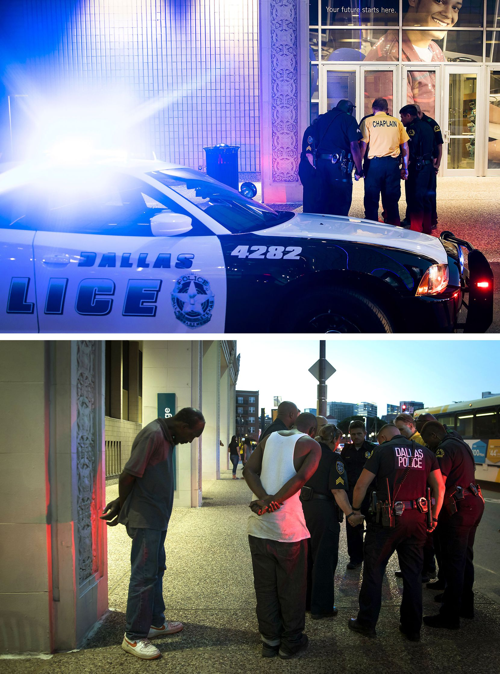 From 8:53 and 8:55 p.m., just a few minutes before the shootings began exactly one year earlier, bystanders joined a small group of Dallas Police Department officers and Dallas County Community College District Police in prayer in front of the Lamar Street entrance to El Centro College.