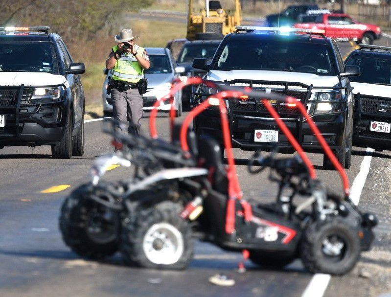 A damaged go-kart is shown at the scene of an accident in which it was hit by an SUV in College Mound on Saturday.