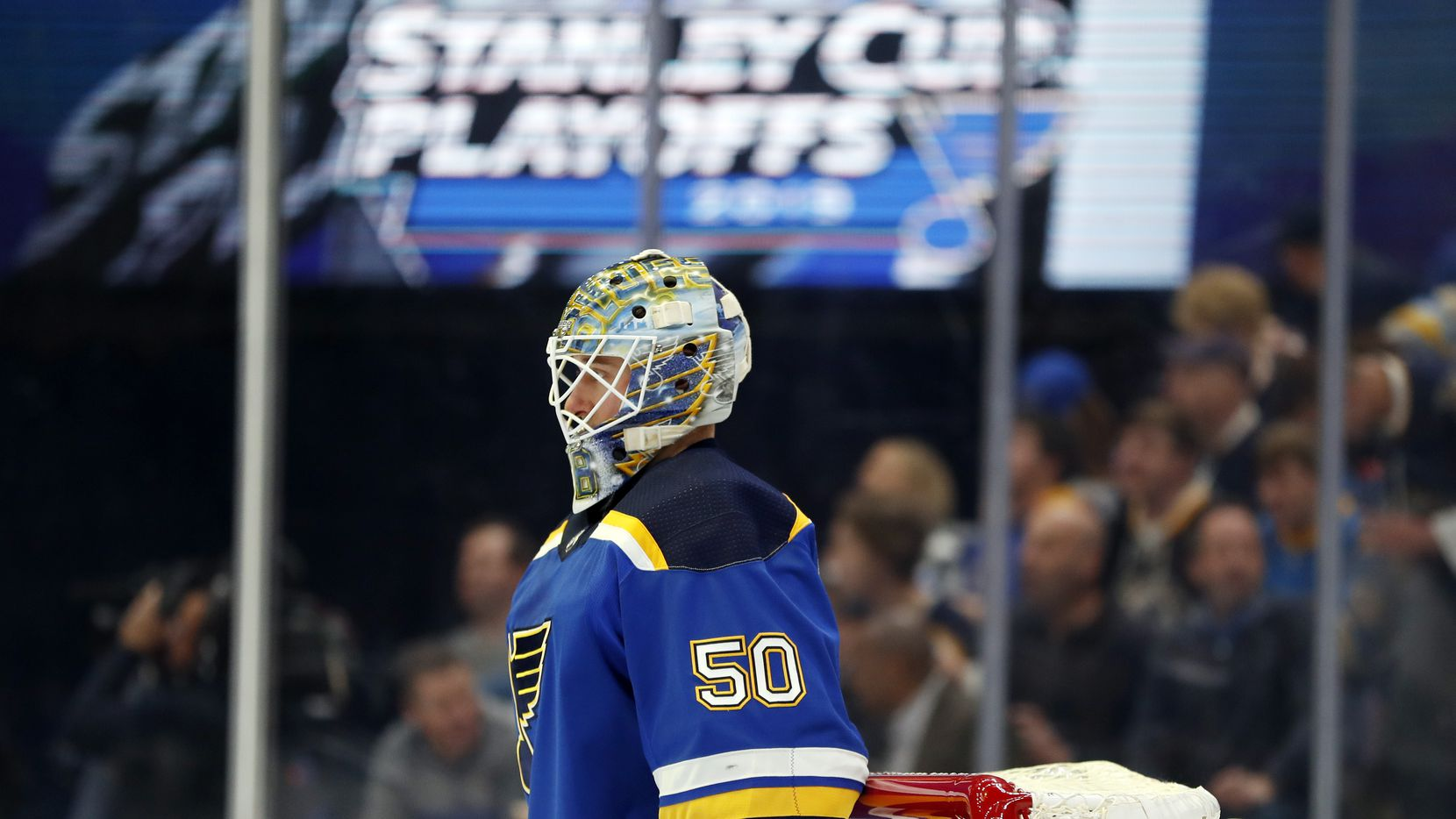 St. Louis Blues goaltender Jordan Binnington waits for the start of Game 4 of an NHL first-round hockey playoff series against the Winnipeg Jets Tuesday, April 16, 2019, in St. Louis. (AP Photo/Jeff Roberson)