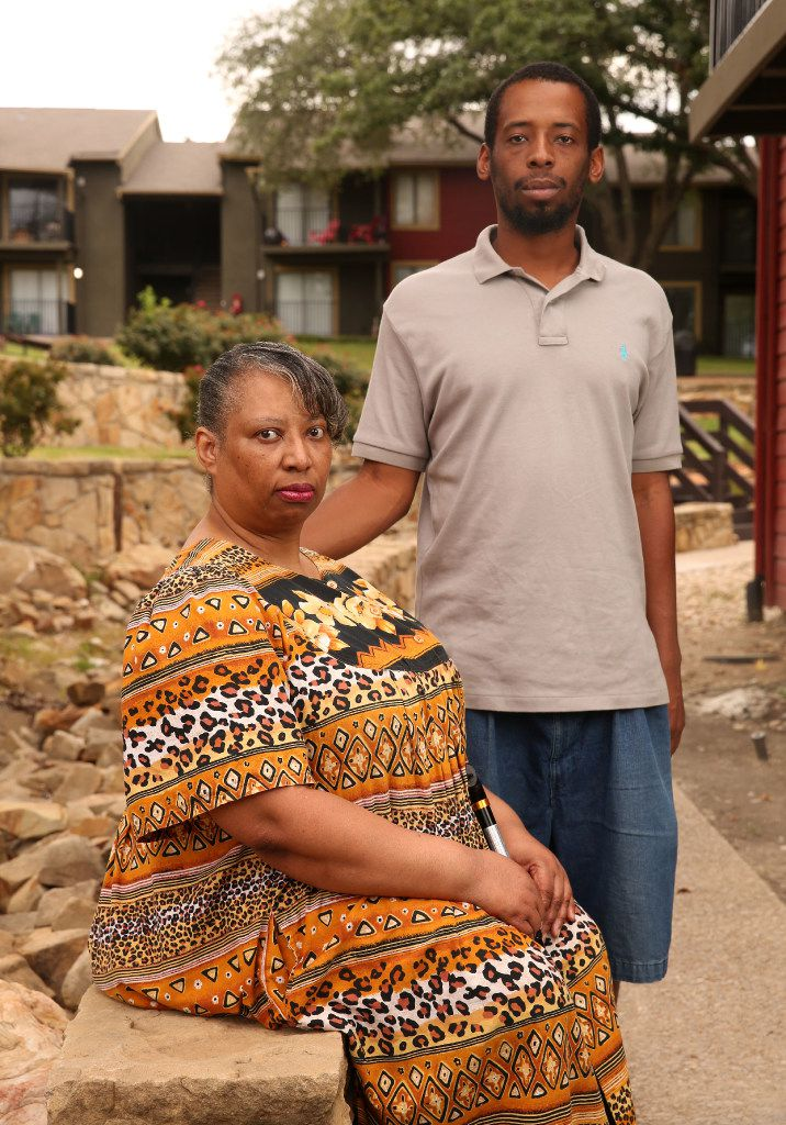 Sacharazonta Rooters and her son, Fred Rooters, outside her apartment complex in August. Fred Rooters wants to help his mother pay back what she owes in rent.