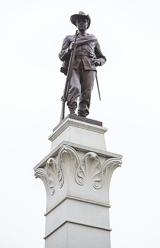 The Hood's Texas Brigade Monument stands outside the Capitol.