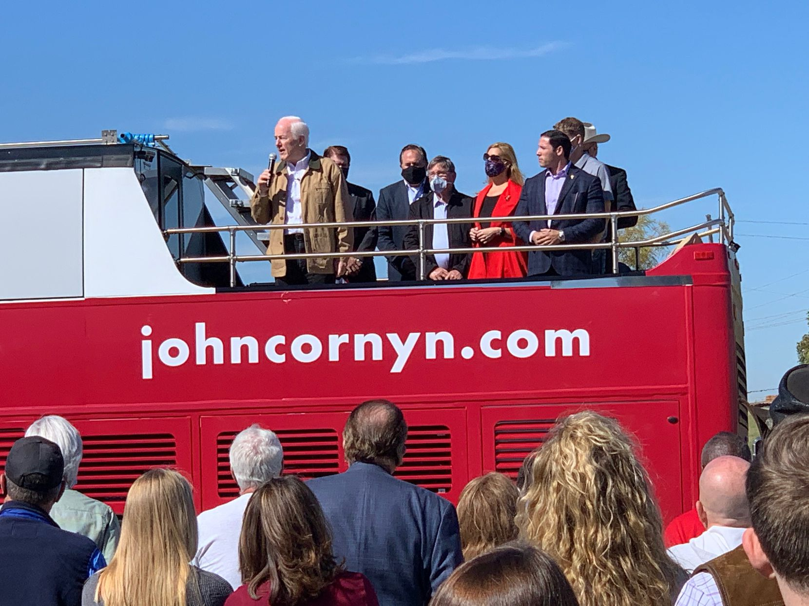 Sen. John Cornyn campaigns at Panther Island Pavilion in Fort Worth. (Gromer Jeffers Jr./The Dallas Morning News.)