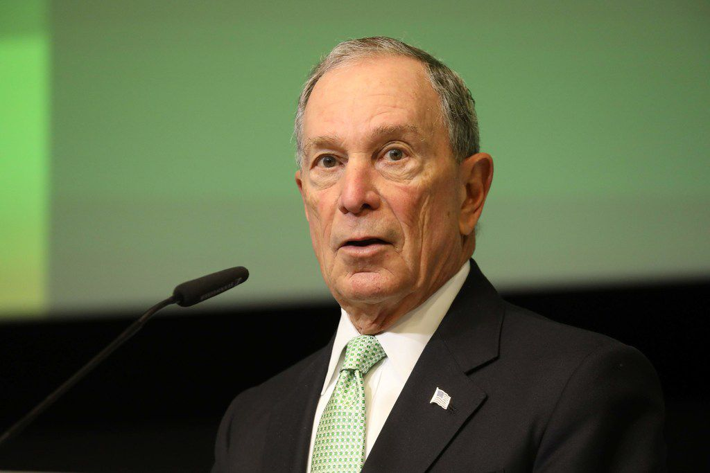 Michael Bloomberg delivers a speech in Brussels.